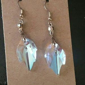 Aurora borealis crystal leaf earrings